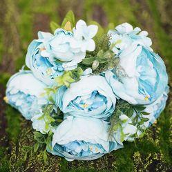 人工花の芸術の多彩な陶磁器のつぼ+ローズユリのSubshrubbyのシャクヤクの花のホーム装飾