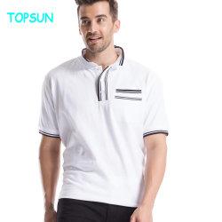 夏の人の白く短い袖のTシャツおよび95%Cotton 5%Elastanの通気性のポロシャツ