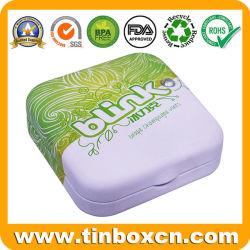 Nahrungsmittelgrad-mini kleines quadratisches Metallkasten-Süßigkeit-Gummi-Bonbon-Minze-Zinn mit Plastikeinlagen und -edelstein