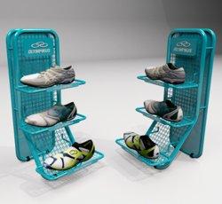 Centro Comercial de metal botas de fútbol de acrílico para rack de soporte de pantalla para el sector minorista