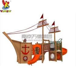 Barca di legno del Corsair della strumentazione esterna del campo da giuoco dei giochi della trasparenza della sosta dell'acqua dei bambini del giocattolo dei capretti di asilo di Playsets del parco di divertimenti