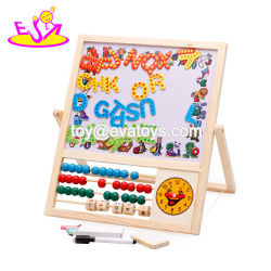 Pour l'éducation double faces Kids écrit du Conseil de l'éducation en bois avec des lettres magnétique W12b111