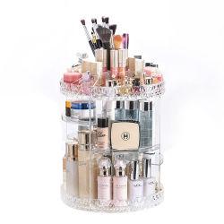 Comercio al por mayor de 3 niveles claros de bricolaje de acrílico transparente de la profesión de 360 grados de rotación rotación cosmética maquillaje de la caja de almacenamiento multimedia