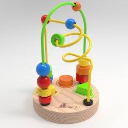لعبة المتاهة الخشبية بي بي بي إي التعليمية مكعب بعجلات