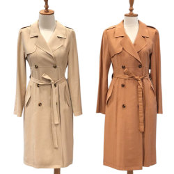 Plus tard OEM Femmes long manteau solide Les femmes aux seins double veste Manteau de vent pour les femmes de la poussière d'usure quotidienne enduire