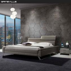 中国の寝室の家具のための製造の安いファブリックスラットの木製のダブル・ベッド