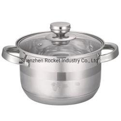 Soem-Induktion kapselte den unteren Edelstahl-Potenziometer-KücheCookware ein, der mit Glaskappe eingestellt wurde