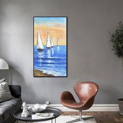 100% Pintura al aceite pintado a mano Arte del barco Pintura al aceite para vivir Habitación