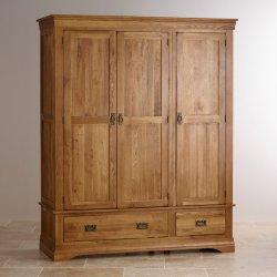 Vintage Chêne rustique en bois massif chambre à coucher 3 portes avec tiroirs grande penderie armoire