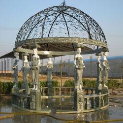 El oeste de la decoración de jardín artificial naturaleza Mirador de piedra de mármol con esculturas de dama