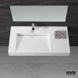 純粋で白い固体表面の単一ボールが付いている統合された洗面器