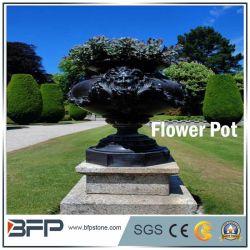 庭の装飾のための大理石の切り分ける黒く高貴な植木鉢かつぼ
