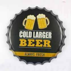 40cm Vintage bouchon de bouteille de bière signe en Métal Décoration murale