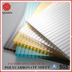 Tragaluz transparente de policarbonato de PC de la pared doble hoja de techos hueco