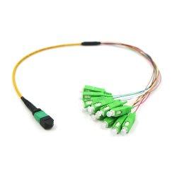 12コアMPOSc 1.5mの相互接続光ファイバパッチ・コード12cores MPOの単一モードの光ファイバケーブル