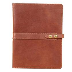 A4 de cuero auténtico rellenable de folio de Bloc de notas Bloc de notas