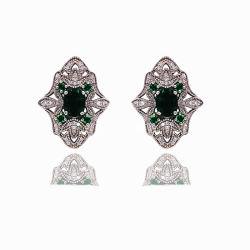 新しい女性のための方法宝石類925の純銀製または真鍮18K金の立方ジルコニアの大きいスタッドのイヤリング