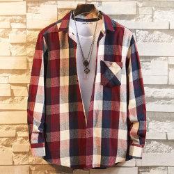 Gli uomini scaldano la camicia lunga del panno morbido del plaid del manicotto delle camice della flanella