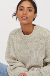 Women Fashion Round Neck Met  Knit  Jumper
