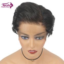"Color negro natural másen el pelo peluca Machine-Made 6"""