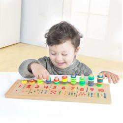 Деревянные математики Rainbow кольцо логарифмической пластину детей по вопросам образования игрушки для детей раннего обучения