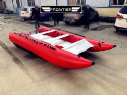 14 de voet Aangepaste het Rennen van de Hoge snelheid van de Kat van de Donder van pvc Opblaasbare Boot van de Catamaran van de Boot