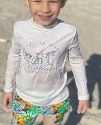 소년 2 조각 경솔한 가드 수영복 아이 긴 소매 Sunsuit 수영복은 3296를 놓는다
