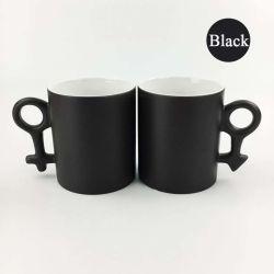 11oz昇華カラー変更のマグのカップルの魔法の陶磁器のマグ(黒)