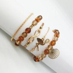 Le Flamingo Shell Bracelet Set 8 mot amour perlé Bracelet Bracelet Bijoux