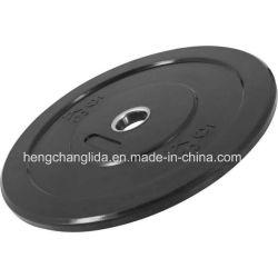 Placa de paragolpes de goma negra Crossfit Barbell de levantamiento de pesas de la placa de la placa de paragolpes