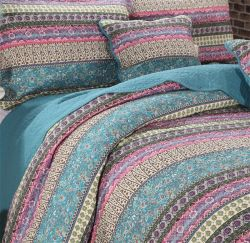 Imprimé de Quilt Multi-Color Stripe Set Home Bedding Set