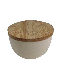 De groene en Veilige Vezel van het Bamboe om Kom met Houten Dekking