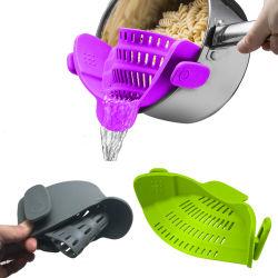 Hulpmiddel van de Keuken van het Vergiet van de Zeef van de Keuken van het silicone past het Klem Creatieve om Vloeistof Af te voeren Al Grootte van de Pot (yb-ab-005)