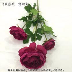 Toque real aumentou Artificial 3 ramo de flores de seda com folhas para decoração