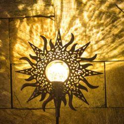Hängende Wand Boden Flackernde Flamme Fackel Eisen Sonne Blume Mond Engel Baum Blatt Schatten Eis Ziegel Design Solar Farbe LED Gartenrasen Außendekoration Licht