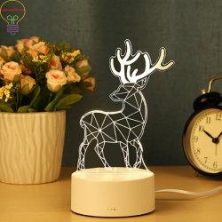 3D LED lámpara de noche pequeña lámpara de escritorio 3D LED Creativas LED Lámpara Dormitorio Regalo de Cumpleaños de la luz de control del interruptor de luz LED lámpara de suspensión