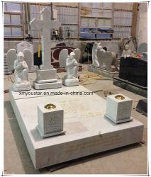De witte Marmeren Dwars Ernstige Tellers van de Grafsteen van Australië van het Beeldhouwwerk van de Steen van de Engel