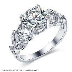 Joyería de moda mujer Anillo de zirconio cúbico de cristal de la boda Anillos de Plata
