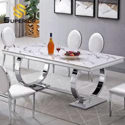 Maison moderne restaurant Set de meubles en marbre en acier inoxydable spécial en métal Table de salle à manger