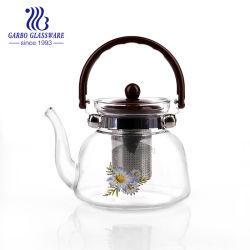 De Pot van de Thee van het Glas van het Overdrukplaatje van Pyrex 1.3L met Handvat en Infuser (GB550431300-TH1)