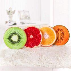 Lanzar redonda almohada Impresión 3D divertido Peluche decorativos cojines rellenos de fruta de la almohadilla del asiento de juguete