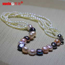 Dernières créations de mode Collier de perles de riz baroque (E130138)
