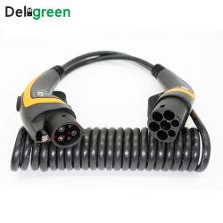 كبل زنبركية 32A SAE J1772 إلى IEC 62196-2 النوع 1 لموصل قابس المركبة الكهربائية من النوع 2