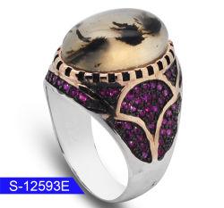 人のための卸し売り新しいモデル銀の宝石類の自然な Agate の石リング