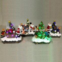 Смешные дизайн анимированные Polyresin Рождество зимние сцены с красочными светодиодный индикатор