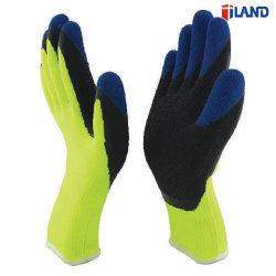 7 индикатора Терри петлю Polycotton двойной гильзы с покрытием из латекса зимой вещевым ящиком безопасность труда перчатки, Crinkled упора для рук