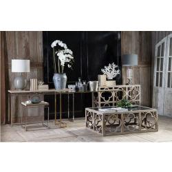 Des meubles anciens en miroir Quatrefoil blanches en détresse Table console