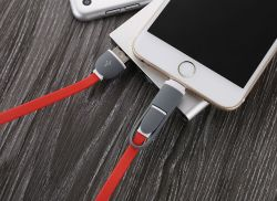 2 en 1 escamotable Câble de recharge USB Câble de chargeur USB pour Android iPhone LED lumineux à LED