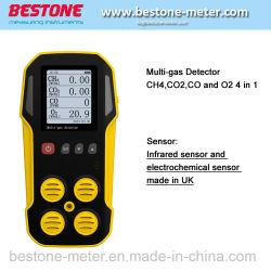 Portátil com o analisador de CO2, dispositivo detector de gás Multi ch4, CO2, CO, O2 4 em 1 detectores de gás
