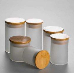 Jarra de cristal esmerilado/ Té Bambú Canister/tubo recto blanco mate Tea Set/Straight pote de Té de Flor de borosilicato de alta/bambú y madera
